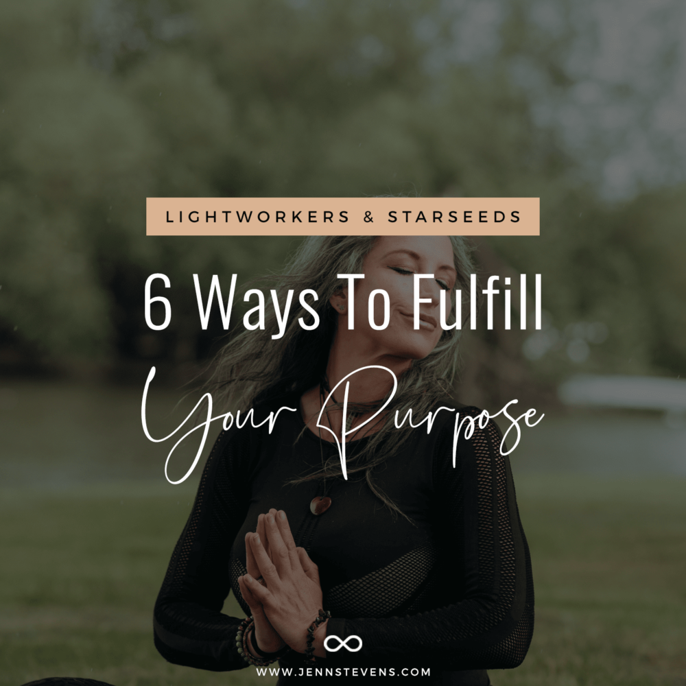 woman with gray hair meditating with text Lightworkers & Starseeds: 6 Ways To Fulfill Your Purpose