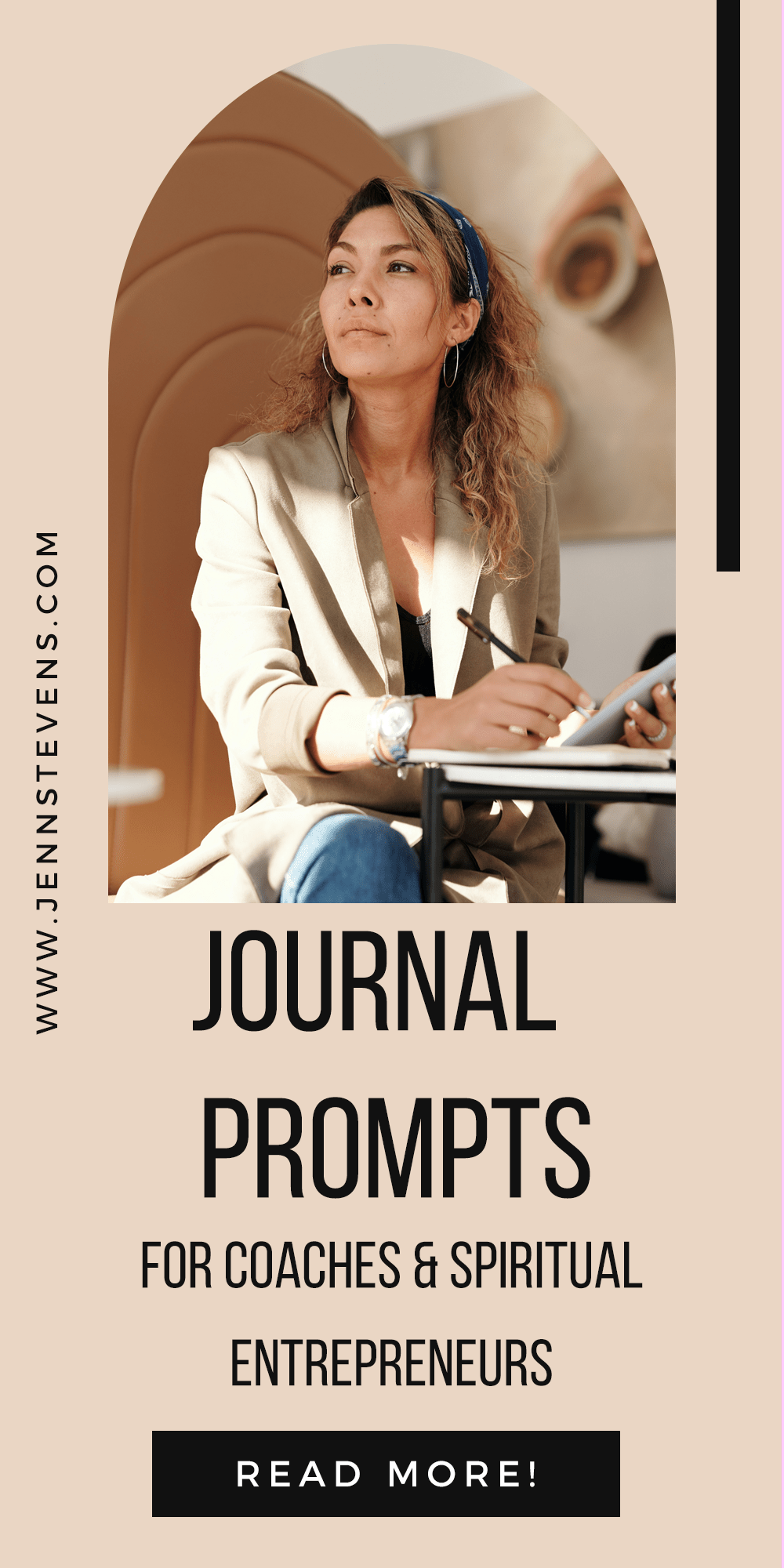 woman on laptop with text 25 Journal Prompts For Coaches & Spiritual Entrepreneurs